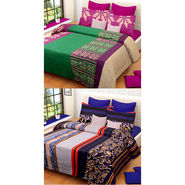 Set of 2 IWS Cotton Printed Double Bedsheet with 4 Pillow Covers-CB1363