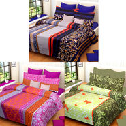 Set of 3 IWS Cotton Printed Double Bedsheet with 6 Pillow Covers-CB1397