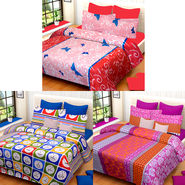 Set of 3 IWS Cotton Printed Double Bedsheet with 6 Pillow Covers-CB1401