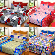 Set of 4 IWS Cotton Printed Double Bedsheet with 8 Pillow Covers-CB1452