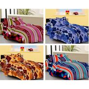IWS Set of 4 Designer Double Cotton Bedsheet with 8 Pillow cover IWS-FCCB-17