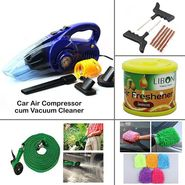 Car Air Compressor cum Vacuum Cleaner + 4 Car Care Accessories