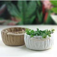 Importwala white & beige Ceramic Baskets - s/2 1403-1019