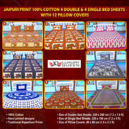 Jaipuri Print 100% Cotton 4 Double & 4 Single Bed Sheets with 12 Pillow Covers (4DSBS2)