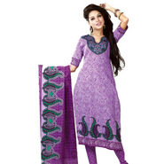 Javuli Printed Cotton Dress Material - Purple