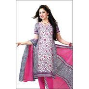 Javuli Printed Cotton Dress Material - White & Pink