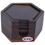 Kvg Wooden Tea Coaster, Set Of 6, Hexa, Black-Brown