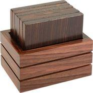 KVG Wooden Tea Coaster, Set Of 6, Square, Black-Brown
