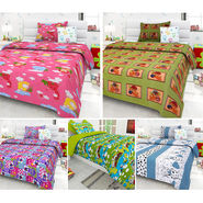 Set Of 5 Kids single Bedsheet With 5 Pillow Cover-KZ_1403_07