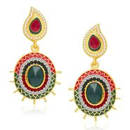 Kriaa Austrian Stone Gold Plated Earrings     - Red & Green _ 1304602