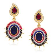 Kriaa Austrian Stone Gold Plated Earrings  - Pink & Blue _ 1304611