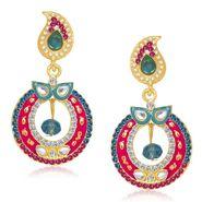 Kriaa Austrian Stone Gold Plated Earrings  - Blue & Pink _ 1304617