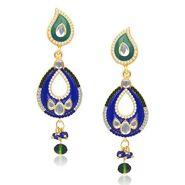 Kriaa Austrian Stone Kundan Earrings - Green & Blue _ 1304631