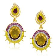 Kriaa Austrian Diamond Gold Finish Earrings - Purple & Yellow _ 1304636