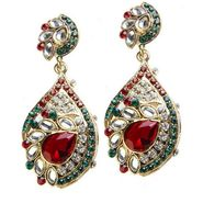 Kriaa Austrian Diamond Kundan Earrings - Maroon & Green _ 1300101