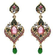 Kriaa Austrian Stone Kundan Earrings - Pink & Green _ 1300116