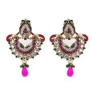 Kriaa Kundan Pearl Drop Earrings - Pink & Green _ 1300328
