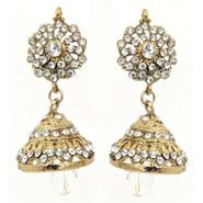 Kriaa Austrian Stone Jhumki Earrings - White _ 1300722