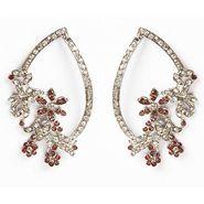 Kriaa Floral Austrian Stone Earrings - Brown _ 1301322