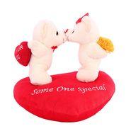 Valentine Stuff KissingCouple OnHeart Teddy Bear - Snow