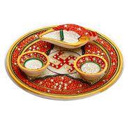 Red Marble Pooja Thali with 2 Diyas & 1 Open Chopra-MAR15324