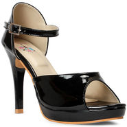 Meriggiare Synthetic Leather Black Heels -Mgfh4010A