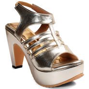 Meriggiare Synthetic Leather Gold Heels -Mgfh4017Q