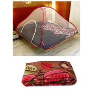 Combo of Double Bed foldable Mosquito Net & Double Blanket-CA1208