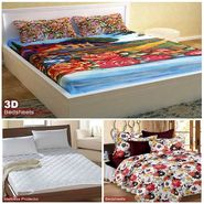 Storyathome Combo Of 100% Cotton 1pc Double Bedsheet, 1pc  3D Bed Sheet And 1pc Mattress Protector -MP_1202-PC1402-MPR1402
