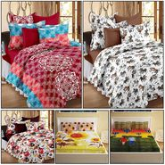 Storyathome Combo Of 100% Cotton 2pc Double Bedsheet, 2pc  3D Bed Sheet And 1pc Cotton Single Bed Sheet-MP_1206-1208-PC_1407-1410-FY1424