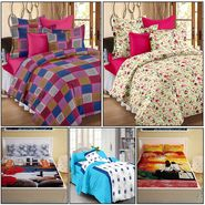 Storyathome Combo Of 100% Cotton 2pc Double Bedsheet, 2pc  3D Bed Sheet And 1pc Cotton Single Bed Sheet-MP_1219-1220-PC_1405-1411-FY1222