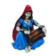 eCraftIndia Polyresin Rajasthani Lady Playing Harmonium Showpiece-MSRAJ510
