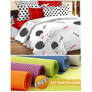 Storyathome White Abstract 1 Double Bedsheet With 2 Pillow Cover -MT1205_TT