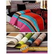 Storyathome Red Abstract 1 Double Bedsheet With 2 Pillow Cover -MT1242_TT