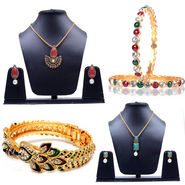 Combo Of Manukunj 2 Pendant Set + 1 Pc Of Bracelet + 2 Pc Of Bangles - Kunj-113