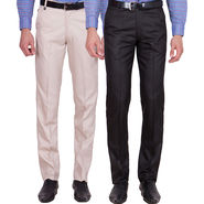 Tiger Grid Pack of 2 Cotton Formal Trouser For Men_Md015
