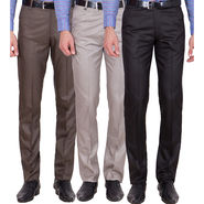Tiger Grid Pack Of 3 Cotton Formal Trouser For Men_Md037