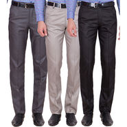 Tiger Grid Pack Of 3 Cotton Formal Trouser For Men_Md039