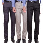 Tiger Grid Pack Of 3 Cotton Formal Trouser For Men_Md040
