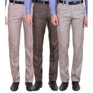 Tiger Grid Pack of 3 Cotton Formal Trouser For Men_Md049