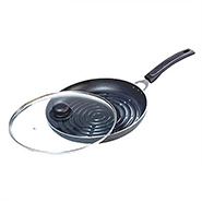 OK Non Stick Grill Pan with Glass Lid-GP2 - Black