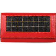 Oleva Leather Wallet - Red & Black
