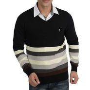 Branded Regular Fit Cotton Sweater_Os03 - Black