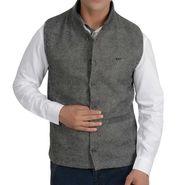 Branded Slim Fit Cotton Waist Coat_Os30 - Grey Line