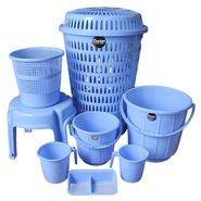 Chetan  Plastic Bathroom Set of 8Pc (Blue Color)