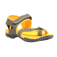 Pede Milan Faux leather Floaters - Grey & Yellow