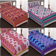 Traditional Jaipuri 100% Cotton Sanganeri Printed 4 Double Bedsheets With 8 Pillow Covers-PF106DWP4B
