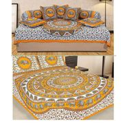 Combo of Jaipuri Print 100% Cotton 1 Diwan Set and 1 Double Bedsheet With Two Pillow Covers-PF110D1BS1D