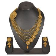 Pourni Stylish Brass Necklace Set_PRNK115 - Golden
