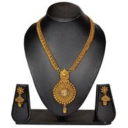Pourni Stylish Brass Necklace Set_Prnk71 - Golden